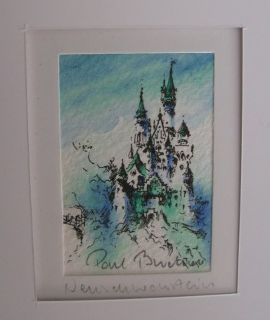 Pen and ink and watercolour of Neuschwanstein Castle
