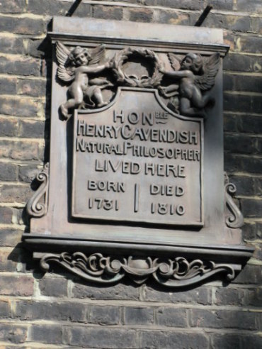 Plaque commemorating Henry Cavendish Bloomsbury London