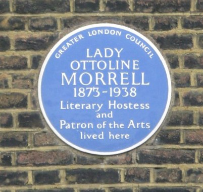 Plaque commemorating Lady Otteline Morrell Bloomsbury London
