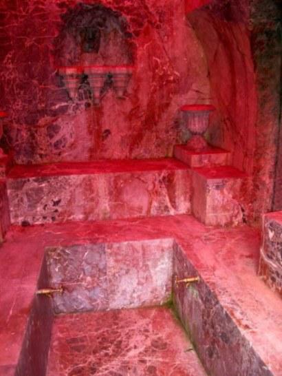 Red stone bath house Hohenschwangau Castle Bavaria