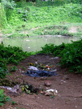 Remains of voodoo offerings Almendares Park Cuba
