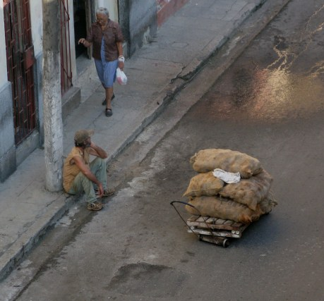 Resting with a load of onions Havana Cuba