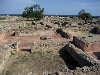Ruins of Kerkouane street and houses in Tunisia