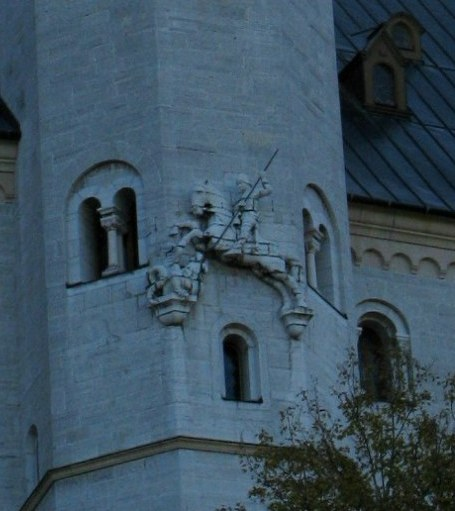 Saint George and the dragon on Neuschwanstein Tower