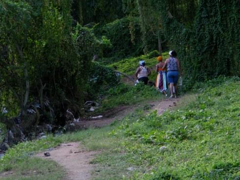 Santeria followers leaving Almendares Park Cuba