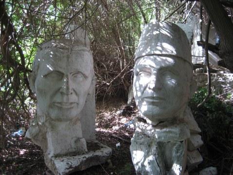 Sculptures in garden of Dar Sebastian Hammamet Tunisia