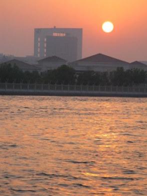 Setting sun on Dubai Creek
