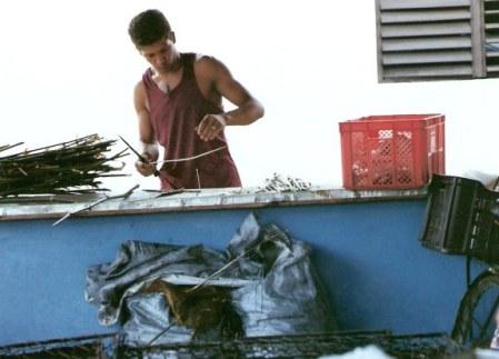 Sharpening reeds for kebab skewers– Agricultural Fair – Havana