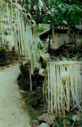 Shredded bamboo-leaf entrance decorations in Bali