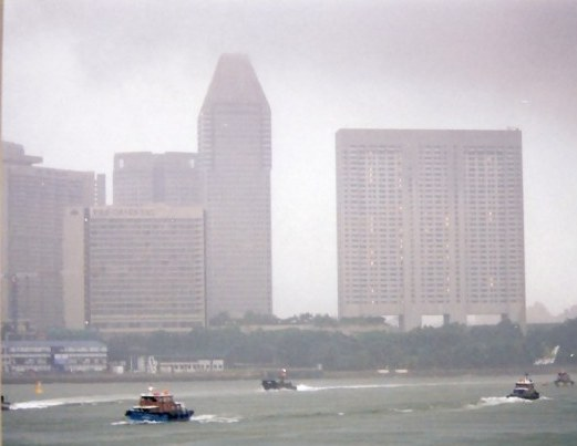 Singapore Harbour in storm
