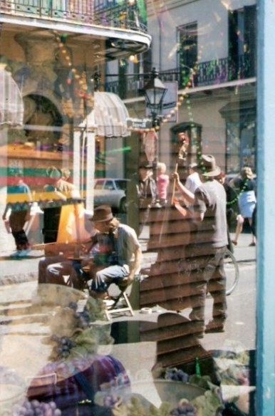 Street musicians in New Orleans from a window