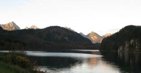 Sunrise-tipped mountains Alpsee Bavaria