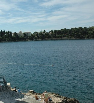 Swimming area off rocks in Rovinj Croatia