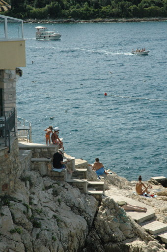 Swimming from the rocks in Rovinj Croatia