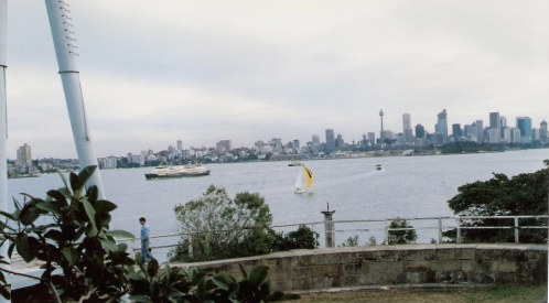 Sydney Harbour and Manly ferry from HMAS Sydney Memorial