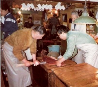 Tokyo Fish Market cutting tuna with sword