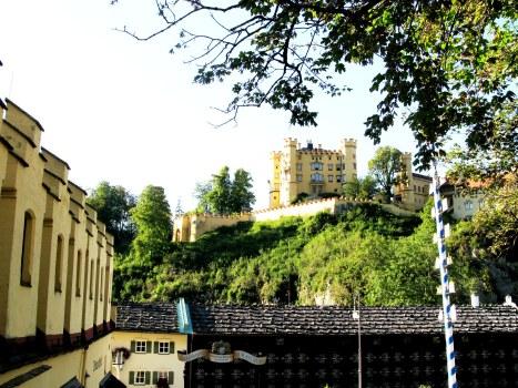 View from Hohenschwangau courtyard towards castle