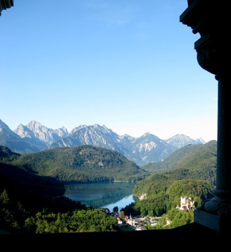 View from café  terrace of Neuschwanstein Castle Bavaria