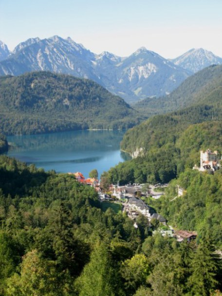 View of Hohenschwangau from Neuschwanstein Castle Bavaria