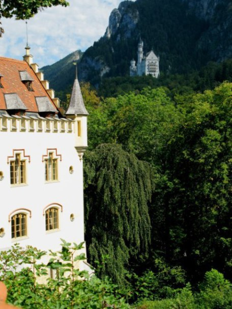 View of Neuschwanstein from Hohenschwanstein Castle garden