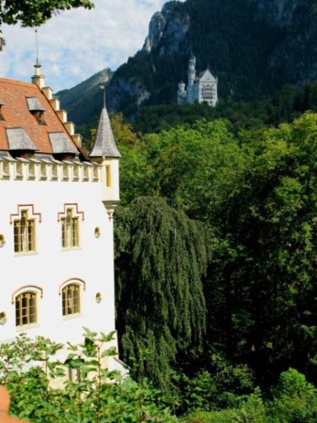 View of Neuschwanstein from Hohenschwanstein Castle garden