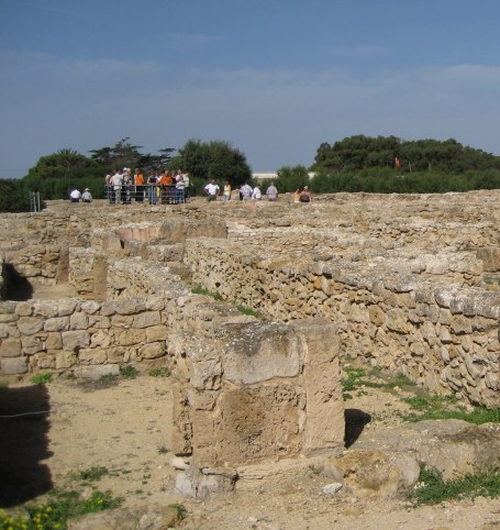 Viewing point for tour of Kerkouane ruins in Tunisia