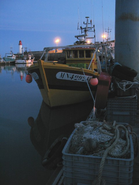 Île d'Oléron La Cotinière port fishing boat at night
