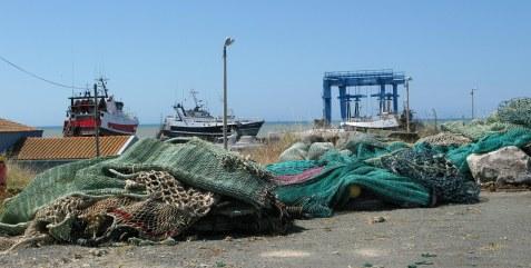 Île d'Oléron port of La Cotinière piles of nets