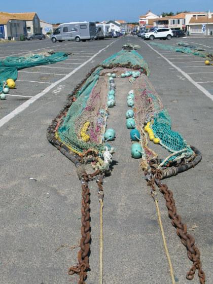 Île d'Oléron port of La Cotinière nets laid out