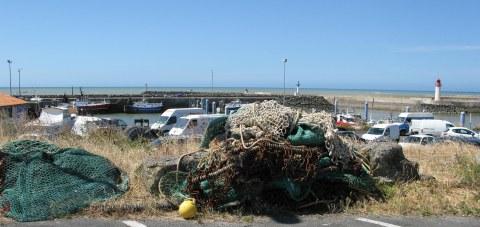 Île d'Oléron port of La Cotinière pile of fishing nets