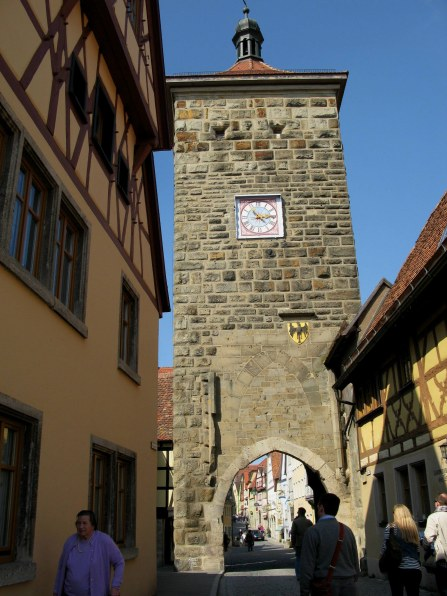 Rothenburg ob der Tauber city gate and clock