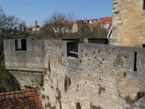 Rothenburg ob der Tauber rooftops over wall