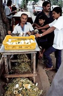 Apple peeling stand in Havana