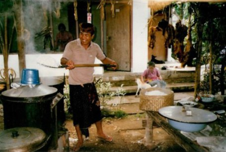 Bali village wedding feast rice preparation