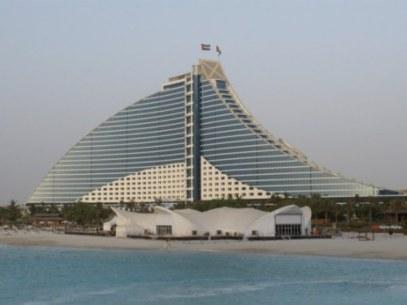 Al Jumeirah Beach Hotel with Iftar tent from Burj Al Arab Dubai