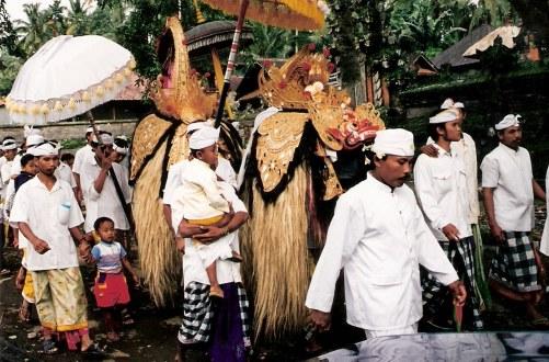 Ceremonial procession Petulu in Bali
