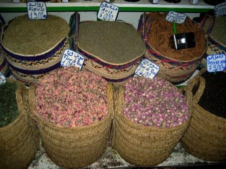 Dried flowers in baskets