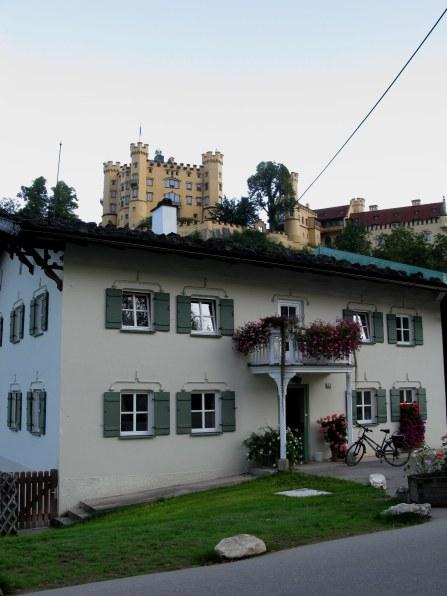Hohenschwangau castle above the town