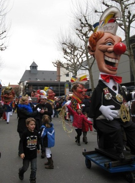 Mainz Germany Carnival political heads with children