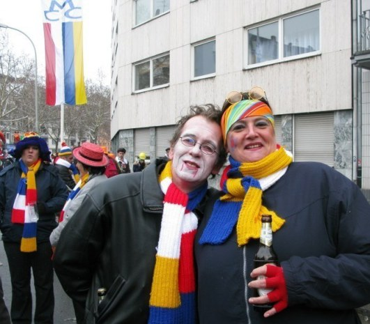 Mainz Germany Carnival wrapped in Fastnacht scarves