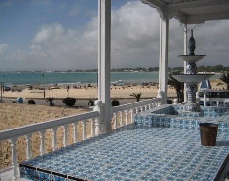 Mosaic table top in beachside restaurant in Hammamet Tunisia