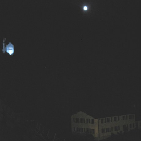 Neuschwanstein Castle in the moonlight and mist