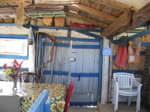 Île d'Oléron oyster shack interior