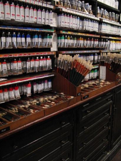 Paints in Cornelissen artists supplies of Great Russell Street Bloomsbury London