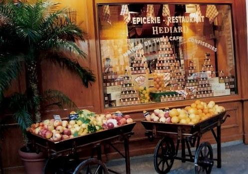 Paris Epiciere and Restaurant Hediar with food barrows