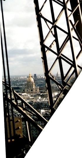 View of Golden Dome of Les Invalides through Eiffel Tower Cables