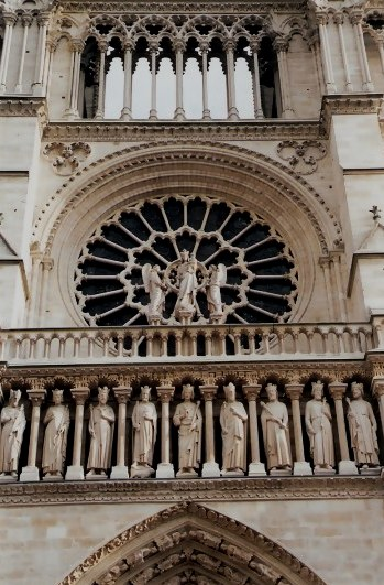 Paris Notre Dame Cathedral Saints and Rose Window
