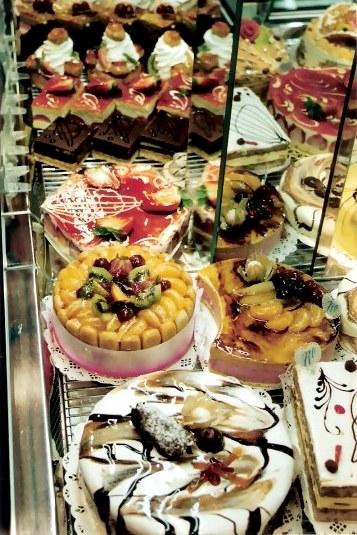 Patisserie display in Paris
