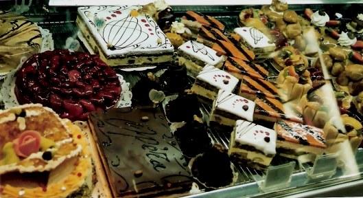 Cakes in Paris cake shop window