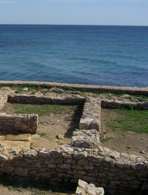 Ruin of Kerkouane house layout beside the ocean in Tunisia